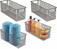 mDesign Set of 4 Wire Storage Basket — Deep