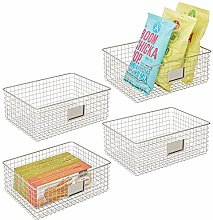 mDesign Set of 4 Wire Storage Basket — Wire
