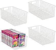 mDesign Set of 4 Wire Storage Basket – Metal