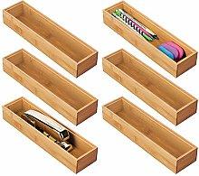 mDesign Set of 6 Desk and Drawer Organiser Box –