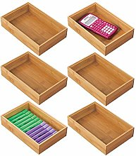 mDesign Set of 6 Desk and Drawer Organiser Box –