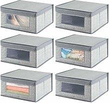 mDesign Set of 6 Fabric Wardrobe Box for Nursery