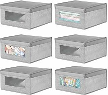 mDesign Set of 6 Soft Storage Box — Stackable