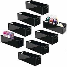 mDesign Set of 8 Plastic Storage Box – Long
