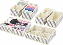 mDesign Set of 8 Wardrobe Storage Boxes – Fabric