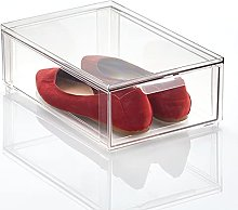 mDesign Shoe Storage Box with Drawer Construction