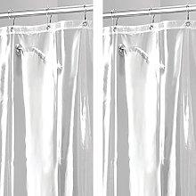 mDesign Shower Curtains - Set of 2 - Bath Curtain