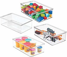 mDesign Stackable Plastic Storage Toy Box Bin with