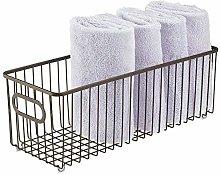 mDesign Storage Basket – Long Metal Wire Basket