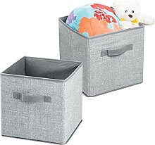 mDesign Storage Cube Boxes - Set of 2 - Fabric