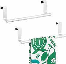 mDesign Tea Towel Holder - Set of 2 - Over Door