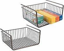 mDesign Under Shelf Hanging Wire Storage Basket