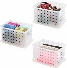 mDesign Wardrobe Storage Organiser Baskets for