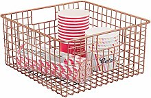 mDesign Wire Basket for Kitchen 12 x 12 x 6 Copper