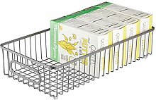 mDesign Wire Basket with Handles — Wide Flexible