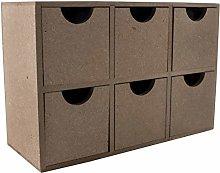 MDF Wood Small Desktop 6 Drawer Storage Box | 21 x