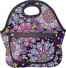 Meal Bag Purple Pattern Boho Style Adults Lunch