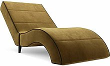 MebLiebe Chaise Longue Venus Recamiere Longchair For Living Room Relaxation Deck Chair 165x88x65 Cm Mustard Yellow
