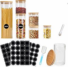 MEckily Glass Storage Jars Set of 6 Spice Jars