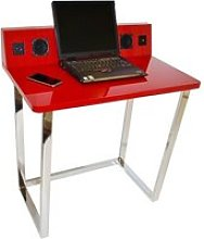 Medford Laptop Desk In Red High Gloss With Chrome