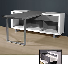 Media Office Computer Desk In High Gloss White And