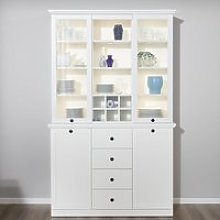 Median Wooden Display Cabinet Wide In White With