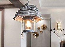 Mediterranean Wooden Pendant Lamp Farmhouse Wooden