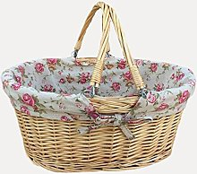 Medium Swing Handle Shopping Basket with Rose