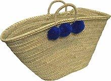 Medium Teal Blue Pom Pom Moroccan Market Basket-
