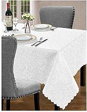 Medium White Jacquard Tablecloth Cover Tableware