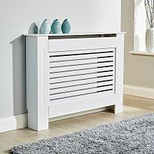 Medium White Radiator Cover Wooden MDF Wall