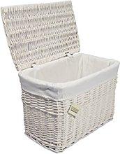 Medium White Wicker Storage Basket Trunk Chest
