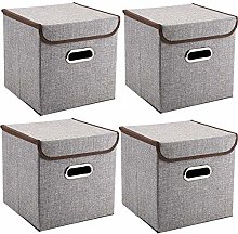 MEE'LIFE Handles Storage Boxes 4-Pack Linen