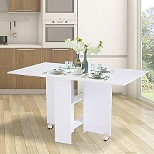 meekiee Foldable Dining Table, Mobile Drop Leaf