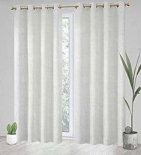 Megachest a pair white/beige jacquard curtain with