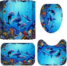 Meigar Ocean Dolphin Bathroom 3D Shower Curtain