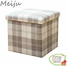Meiju Folding Storage Box Footstool Cube Ottomans