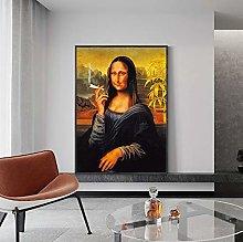 meilishop Print On Canvas Funny Smoking Mona Lisa