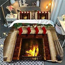Meimall Duvet Cover Bedding Set Fireplace