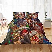 Meimall King Size Duvet Cover Set Christmas Girl