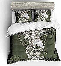 Meimall King Size Duvet Cover Set Gray Skull Wings