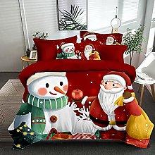 Meimall King Size Duvet Cover Set Red Santa