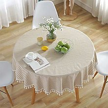 meioro Round Tablecloths Striped Fringe Tablecloth