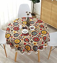 Meiosuns Round Tablecloths Linen Cotton Tablecloth
