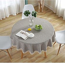 Meiosuns Round Tablecloths Striped Circular Table