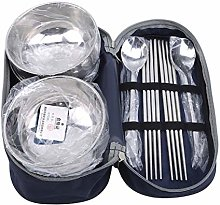 Meitanyuan Outdoor Stainless Steel Tableware Set, Spoon Chopsticks Bowl with Portable Bag for Camping, Picnic,blue,Four-piece sui