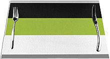 Meius Placemats for Dining Table,Color Block Lime