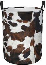 Meiya-Design Collapsible Round Storage Bin,Cowhide
