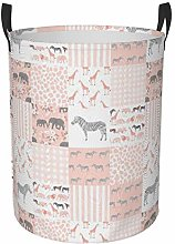 Meiya-Design Collapsible Round Storage Bin,Pink