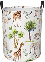Meiya-Design Collapsible Round Storage Bin,Safari
